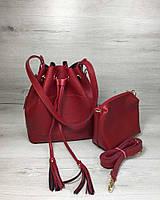 Красная сумка-кисет 23112 через плечо молодежная с клатчем, фото 1