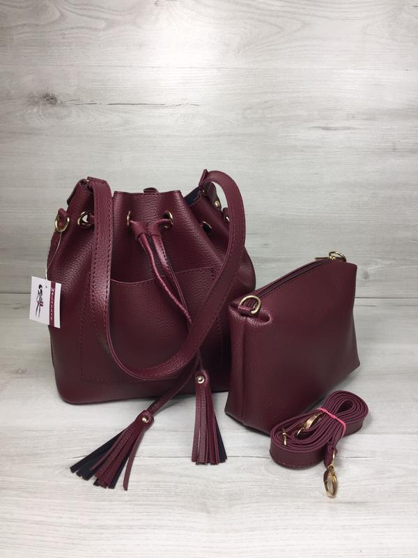 cc4d6c9de0e7 Бордовая сумка-кисет 23117 через плечо молодежная с клатчем - Интернет  магазин сумок SUMKOFF -