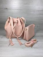 8846dacfa0dc Розовая сумка-кисет 23120 пудра через плечо молодежная с клатчем