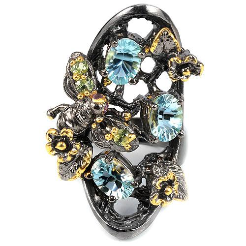 Серебряное кольцо с натуральными Топазами Турмалинами и Перидотами