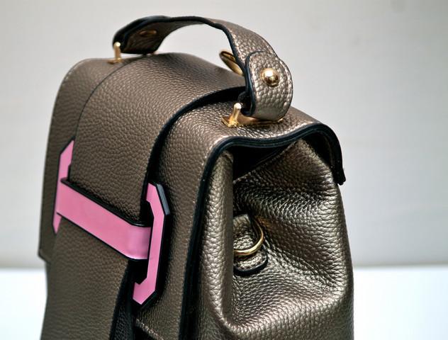Фото молодежного подросток девочка модный стильный рюкзак бронзовый MQ вид с верху
