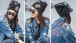 Женская шапка из ангоры с нашивками на флисе (6 цветов), фото 6