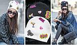 Женская шапка из ангоры с нашивками на флисе (6 цветов), фото 4