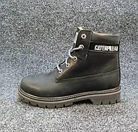 b4a65f5f3 Ботинки Caterpillar кожаные с мехом черные унисекс (р.36,37,38,