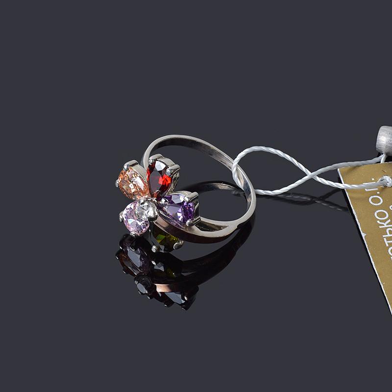 Серебряное кольцо с золотом Фиалка 16 размер