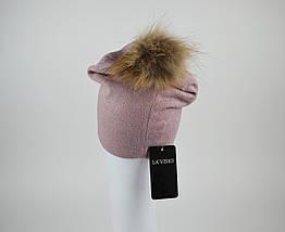 Шапка розовая с мехом La'Visio 616, фото 2