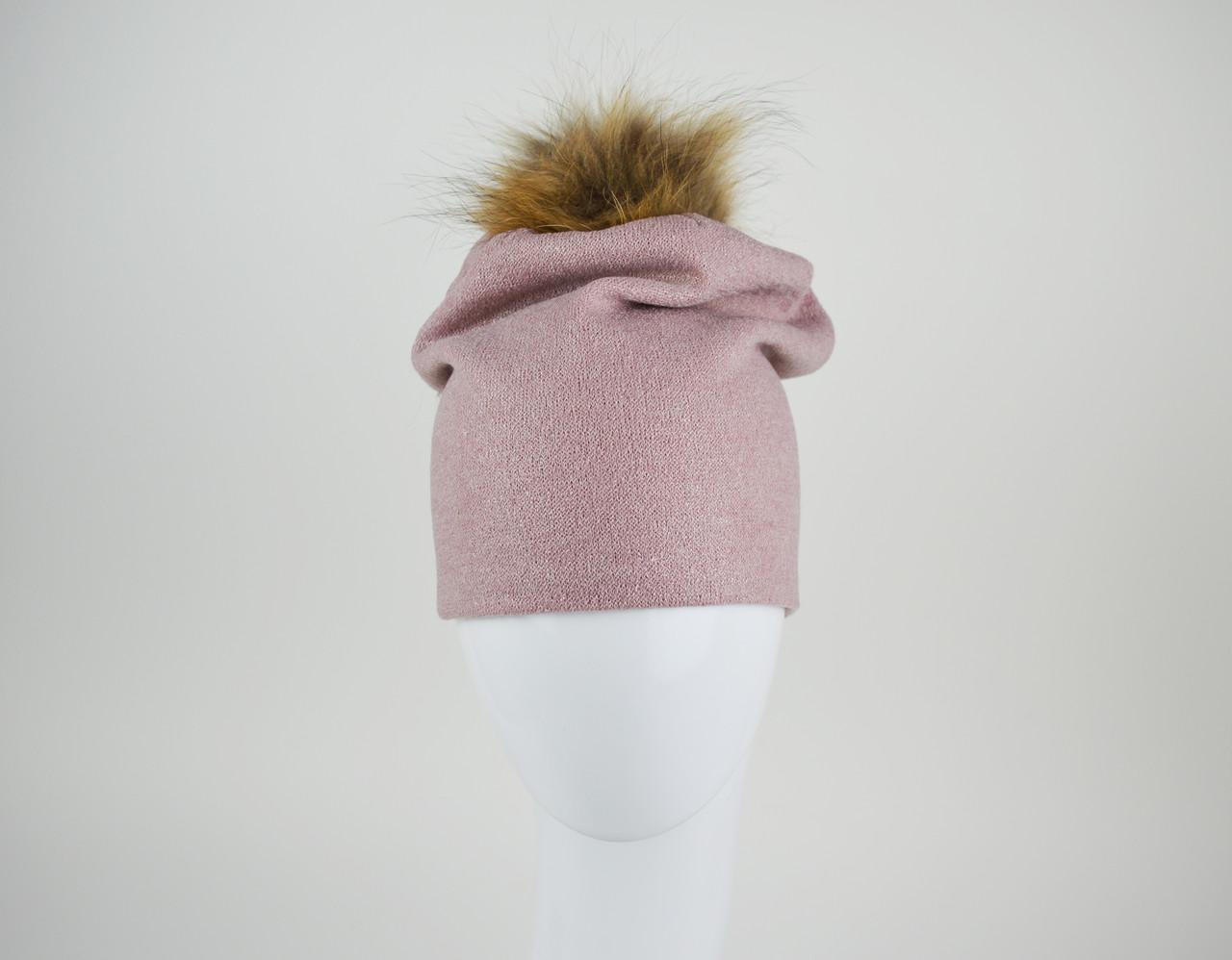 Шапка розовая с мехом La'Visio 616