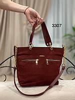 Бордовая замшевая сумка с подкладкой 1431 (ЮЛ), фото 1