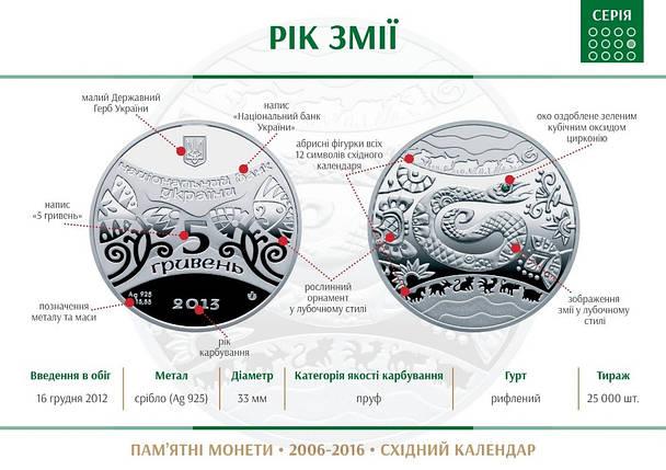 """Срібна монета НБУ """"Рік Змії"""", фото 2"""
