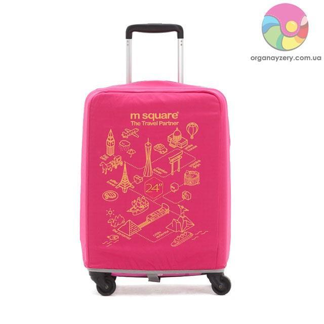 Чехол на чемодан (М) (розовый с принтом)