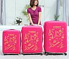 Чохол на валізу (М) (рожевий з принтом), фото 3