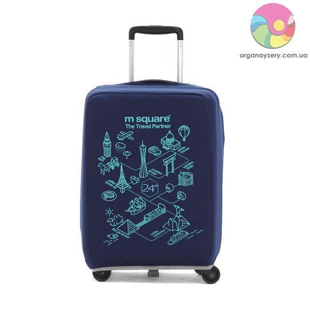 Чехол на чемодан (М) (синий с принтом)
