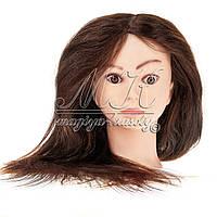 Учебная голова манекен для причесок и плетения, с натуральными волосами 50-55 см, шатенка