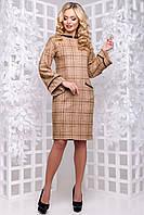 Класичне демісезонне плаття в клітку 42-48 розміру коричнева клітинка з обробкою шкіряної, фото 1