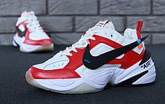 Мужские кроссовки Nike M2K Tekno White/Red. ТОП Реплика ААА класса.