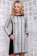 Модне демісезонне плаття в клітку асиметричної довжини 44-50 розміру сіра клітинка, фото 1