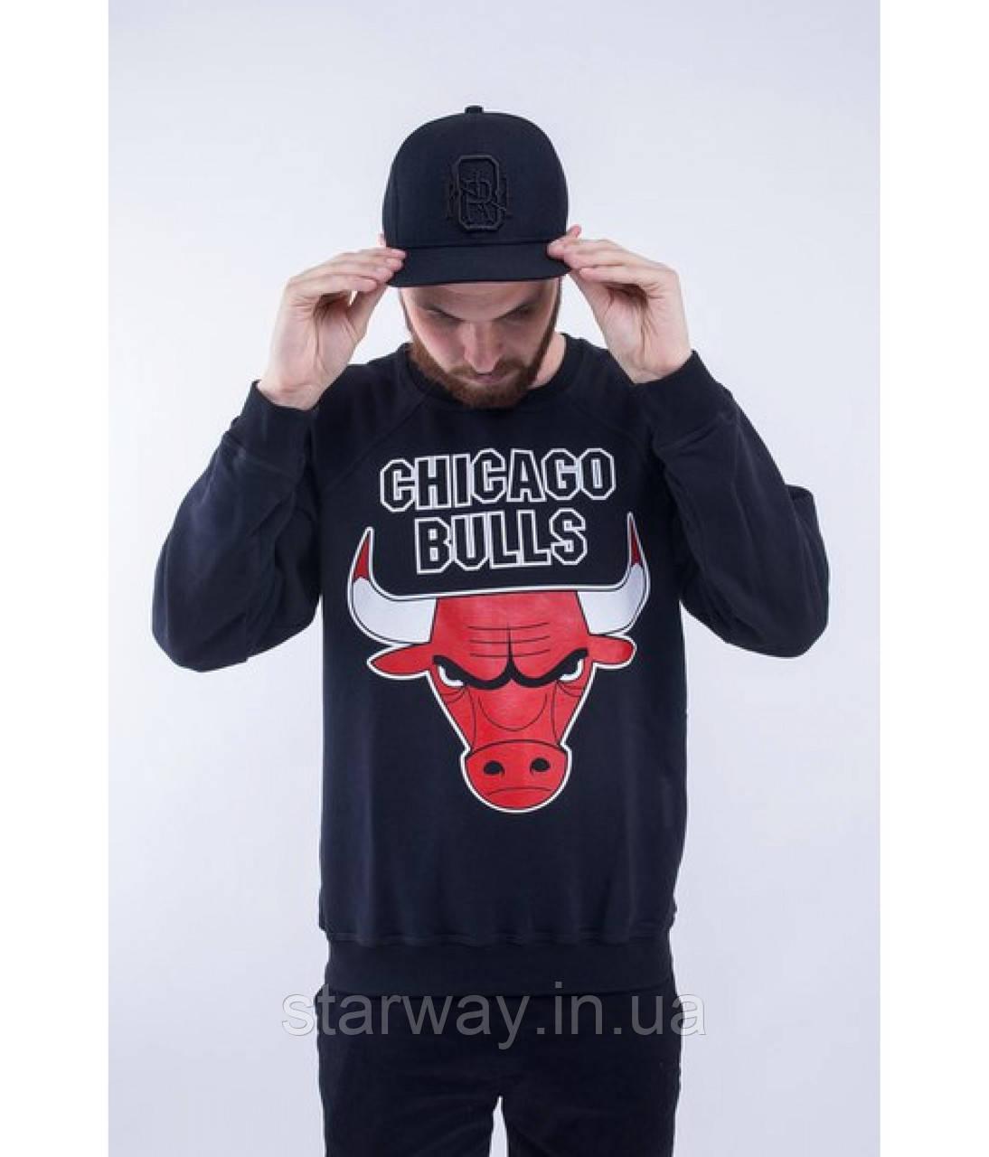 Свитшот темно-синий Chicago Bulls logo | Кофта стильная