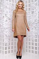 Модное демисезонное платье в клетку асимметричной длины 44-50 размера коричневая клетка, фото 1