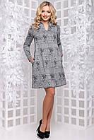 Тепле демісезонне плаття трапеція з принтом 44-50 розміру сіре, фото 1