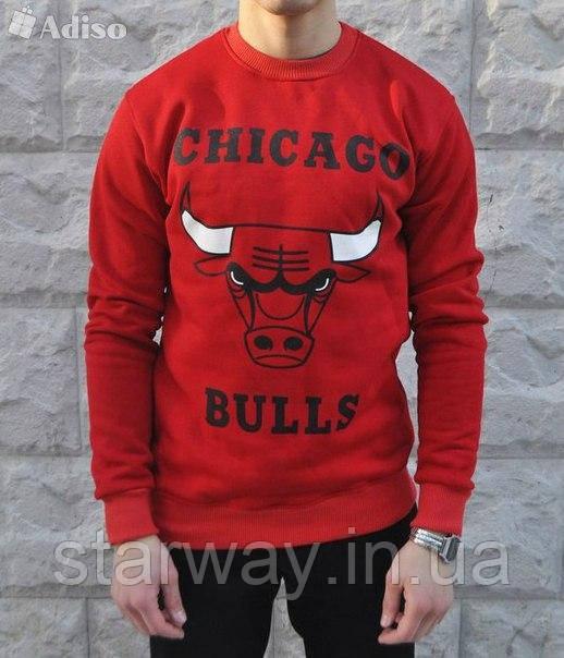 Свитшот красный Chicago Bulls logo | Кофта топ