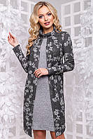 Теплое нарядное платье вязка с воротником хомутом 44-52 размера темно-серый с цветочным принтом, фото 1