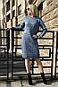 Вязаная женское платье туника Вишня, джинс