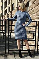 Вязаная женское платье туника Вишня, джинс, фото 1