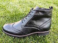 Ботинки мужские классические кожаные зимние (броги)