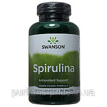 Спіруліна натуральна,Swanson Spirulina 500 мг 180 таб