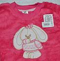 """Пижама теплая для девочки """"Зайка"""" розовая, велсофт (р. 128 cм) (Украина), фото 2"""