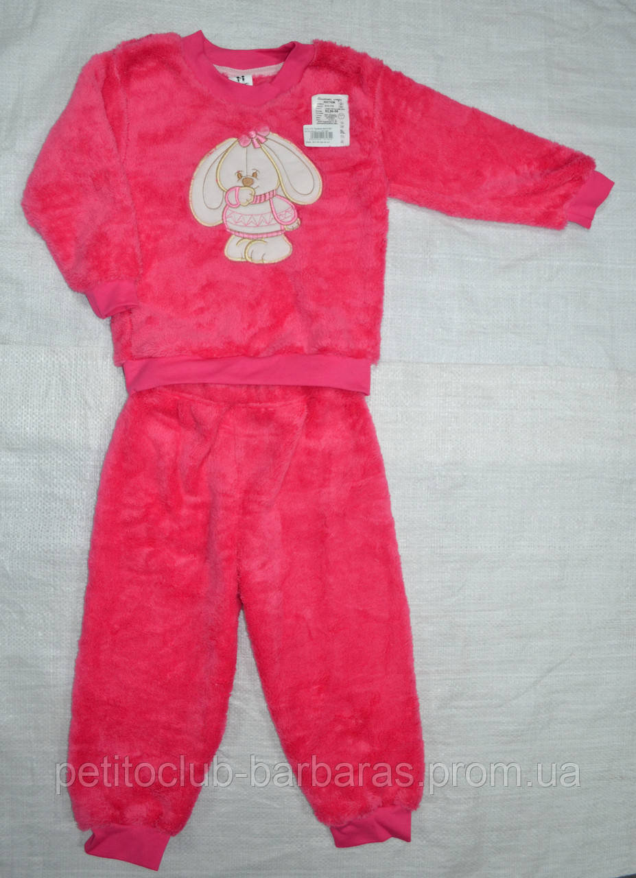 """Пижама теплая для девочки """"Зайка"""" розовая, велсофт (р. 128 cм) (Украина)"""