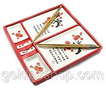 """Набор посуды сервиз керамический для суши и роллов на 2 персоны """"Белый с цветами сакуры"""" в подарочной упаковке"""
