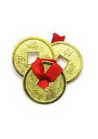 Монеты (3шт)(2.5 см) в кошелек золотые красная ленточка