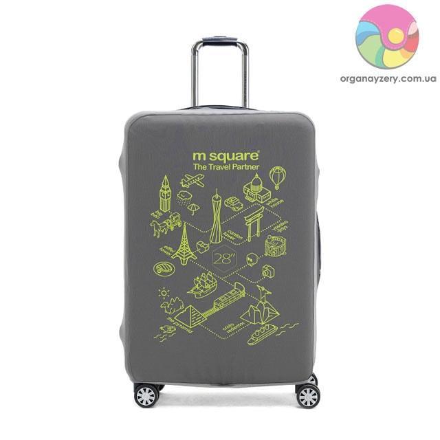 Чехол на чемодан (L) (серый с принтом)