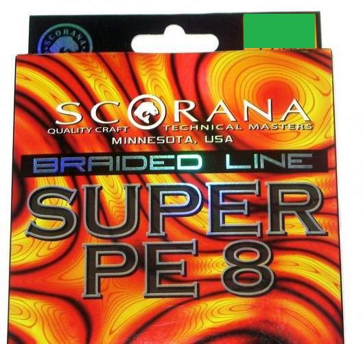 Шнур Scorana Super PE 8 150m 0.25mm 14.50kg Green