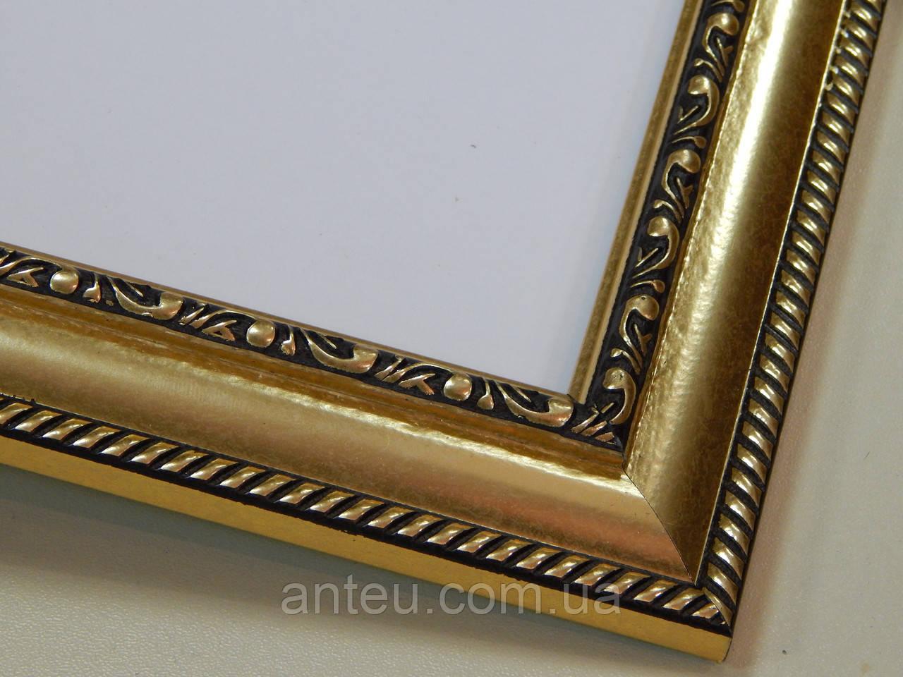 Фоторамка А2 (420х594)Антибликовое стекло29 мм.золото с орнаментом.Для фото ,грамот,картин.