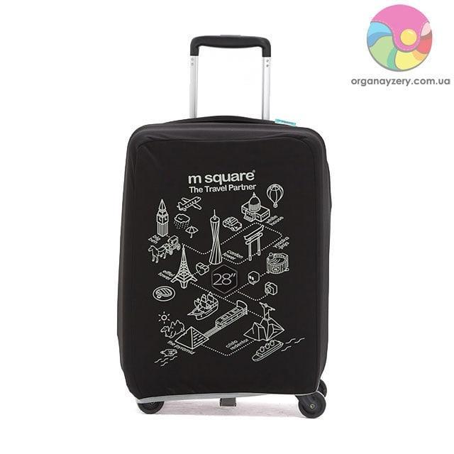 Чехол на чемодан (L) (черный с принтом)