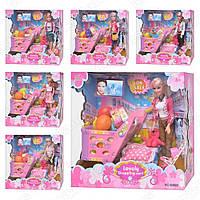 Кукла с нарядом 60622 (6шт) с дочкой,6 видов,тележка для продуктов,аксессуары