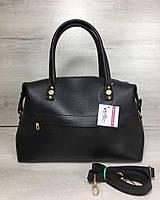 Хитовая сумка! Сумка саквояж женская 55704 деловая черная на плечо с ручками