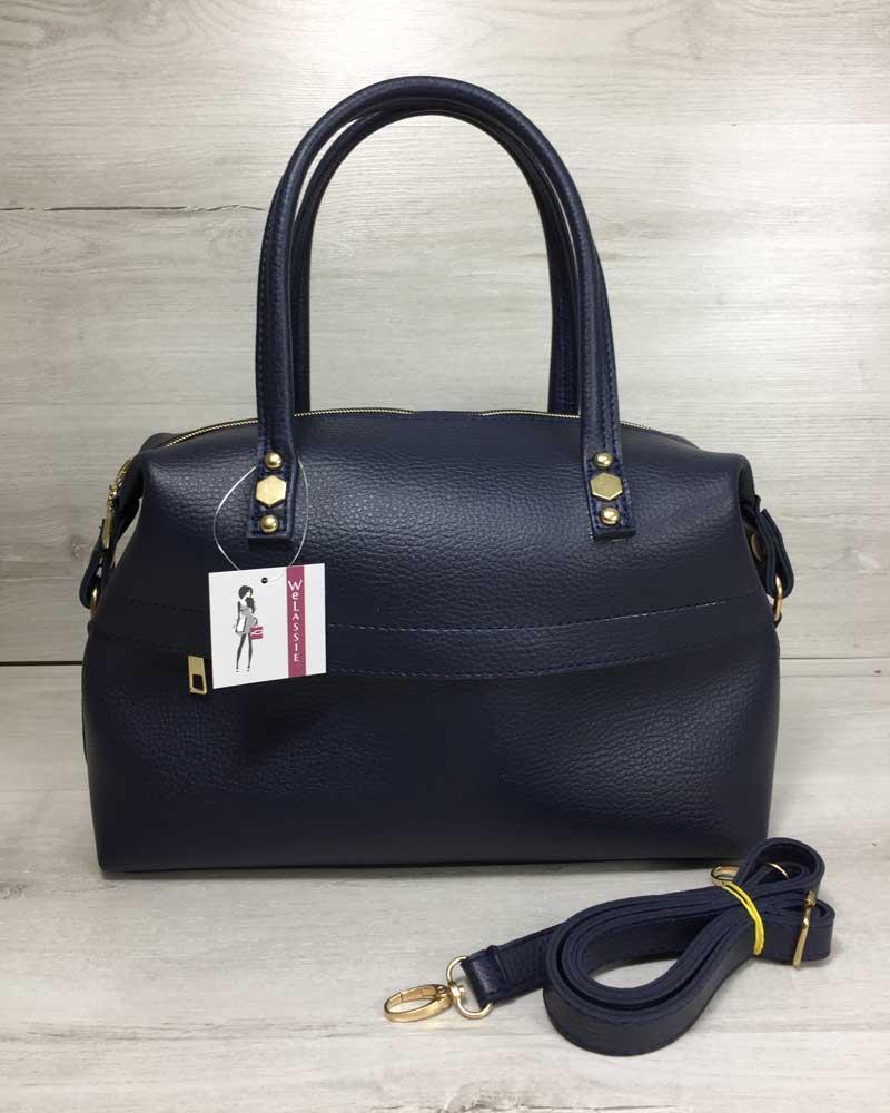8c4a41410c79 Сумка женская 55703 деловая синяя овальный мягкий саквояж: продажа ...