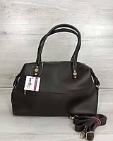 Коричневая сумка 55705 деловая овальный мягкий саквояж, фото 1