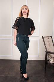 Женские зеленые брюки на байке больших размеров Аманда