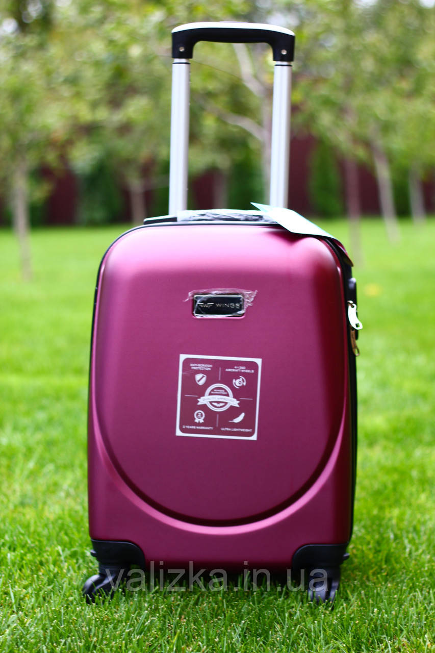 Валіза пластикова для ручної поклажки бордо S+. Пластиковый чемодан для ручной клади бордовый. Польша