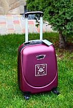 Валіза пластикова для ручної поклажки бордо S+. Пластиковый чемодан для ручной клади бордовый. Польша , фото 2
