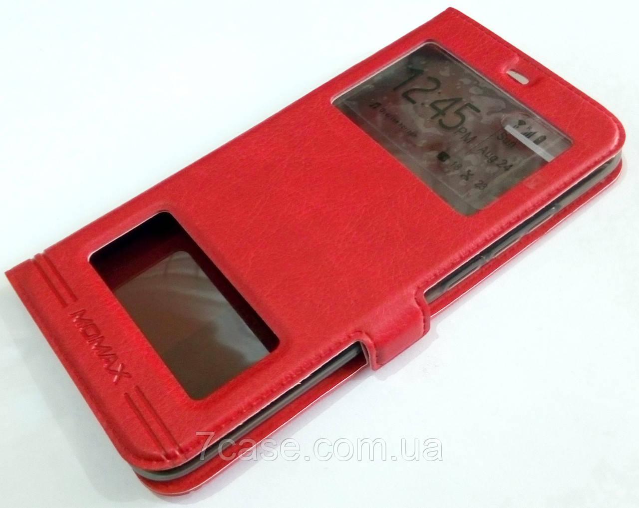 Чехол книжка с окошками momax для Huawei Honor 10 красный