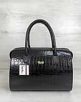 Лаковая черная сумка 31135 саквояж тиснение под крокодила, фото 1