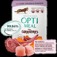 Беззерновой корм Optimeal для взрослых кошек с ягнятиной и куриным филе в тыквенном желе, 85 г