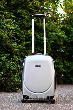 Валіза пластикова для ручної поклажки срібло S+. Пластиковый чемодан для ручной клади серебро. Польша , фото 2