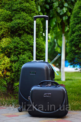 Валіза пластикова для ручної поклажки чорна S+. Пластиковый чемодан для ручной клади черный. Польша , фото 2