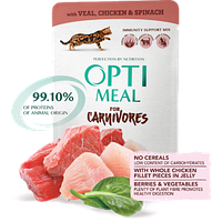 Беззерновой корм Optimeal для взрослых кошек с телятиной, куриным филе и шпинатом в соусе, 85 г